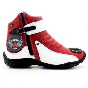 Bota Atron Shoes Motociclista 271 Cano Baixo  - Branco Vermelho