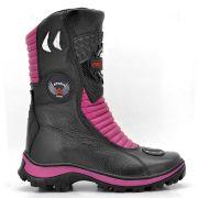 Bota Motociclista Atron Shoes 302 Cano Alto em Couro - Preto e Pink