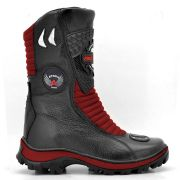 Bota Motociclista Atron Shoes 302 Cano Alto em Couro - Vermelho