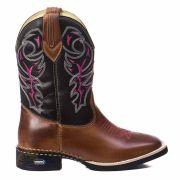 Bota Texana Country Feminina  Couro Bico Quadrado - Rose