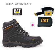 Bota Work Boot 9820 Preto + Brinde Carteira Cinto
