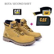 Bota Coturno Caterpillar Second Shift Couro Yellow + Brinde Carteira e Cinto Cat