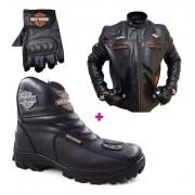 Kit  Jaqueta Bota Luva Harley Davidson De Couro Unisex H800