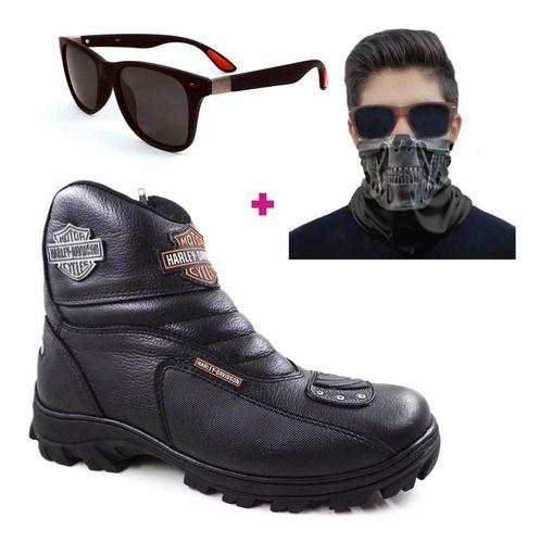 Kit Bota Harley Davidson + Mascara Bandana Caveiras + Oculos