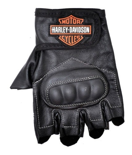 Luva Motociclista Harley Davidson Masculina Em Couro Preto
