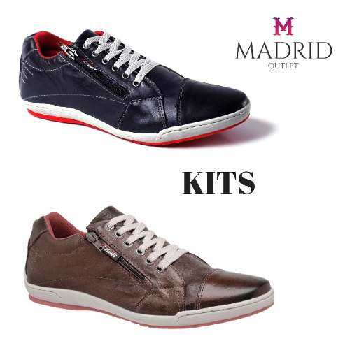 Kit 2 Sapatênis  Estilo Tchwm Shoes Couro e Zíper 12.020