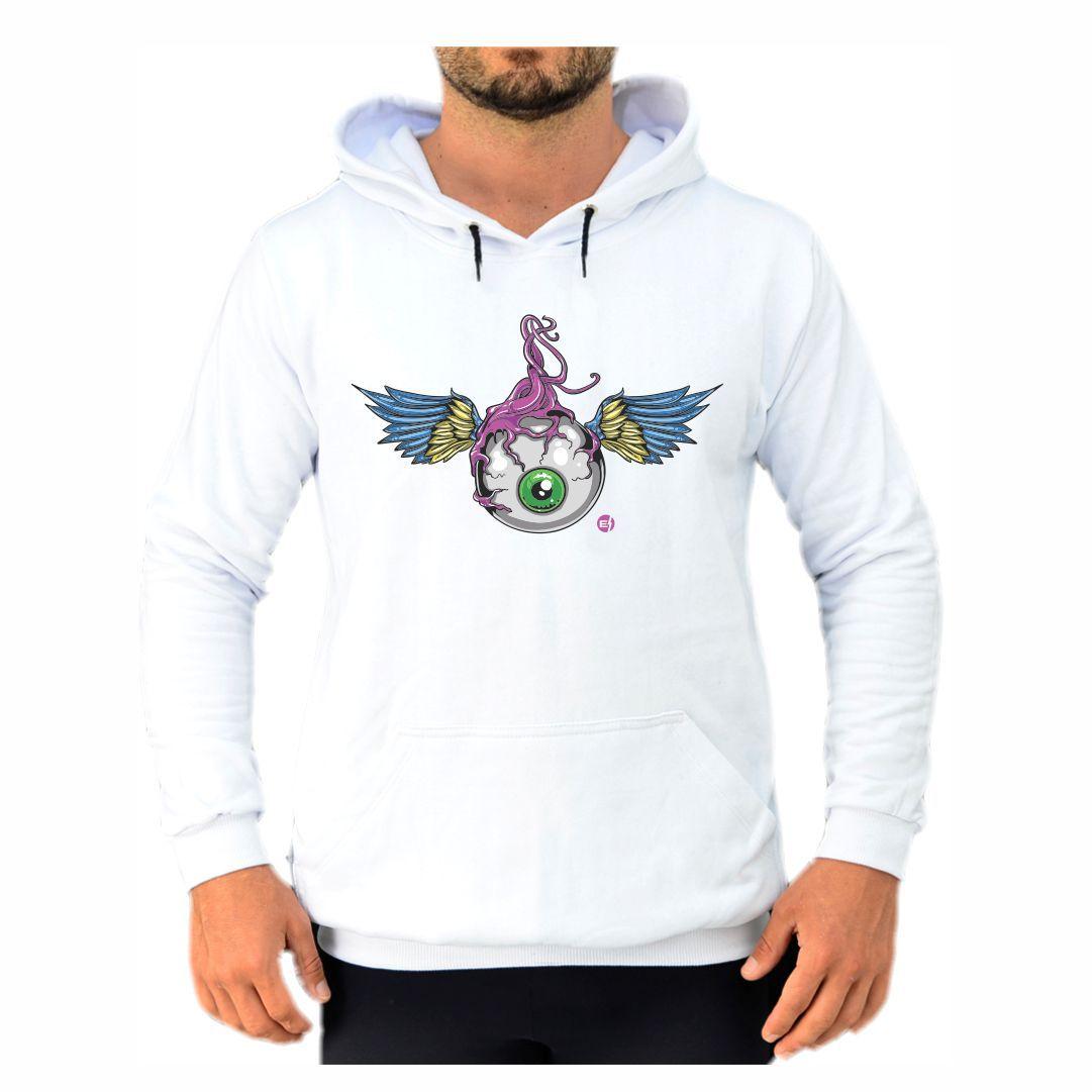 Blusa Moletom Canguru Masculino Efect Olhos - Branco