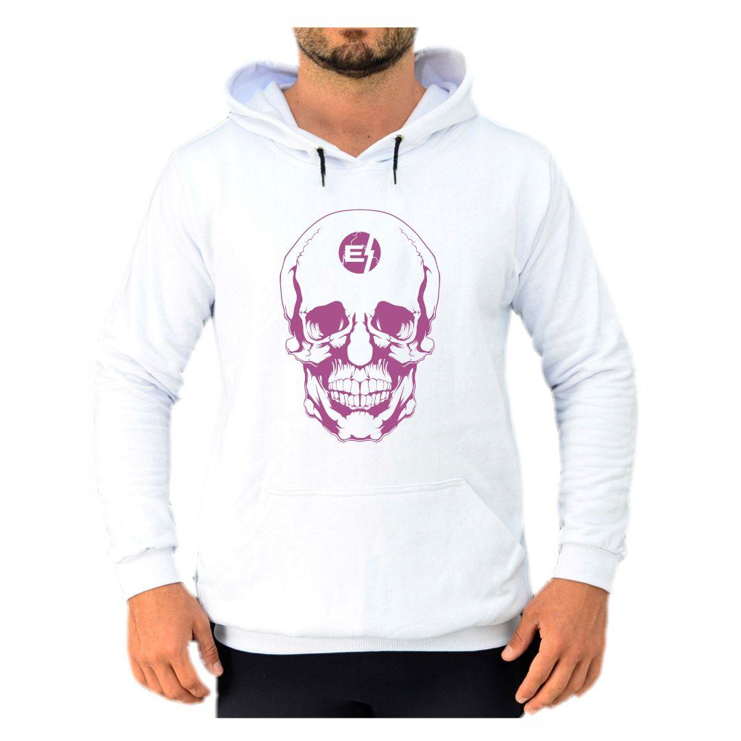 Blusa Moletom Canguru Masculino Efect Skull- Branco