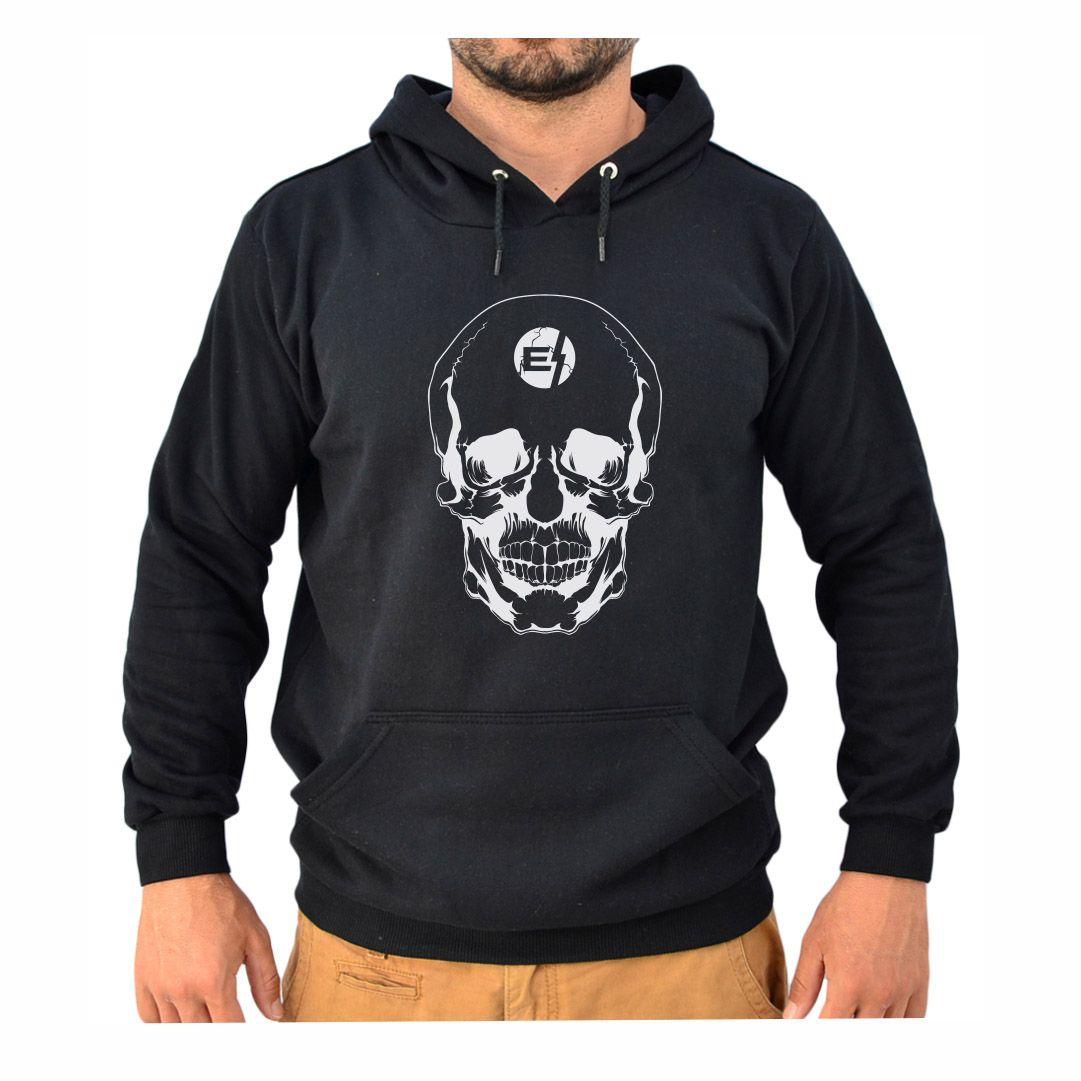 Blusa Moletom Canguru Masculino Efect Skull - Preto