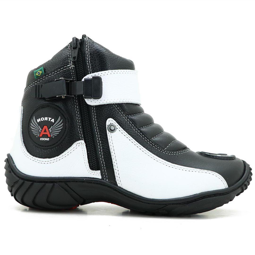 Bota Atron Shoes 271 Motociclista Cano Baixo  - Branco Preto