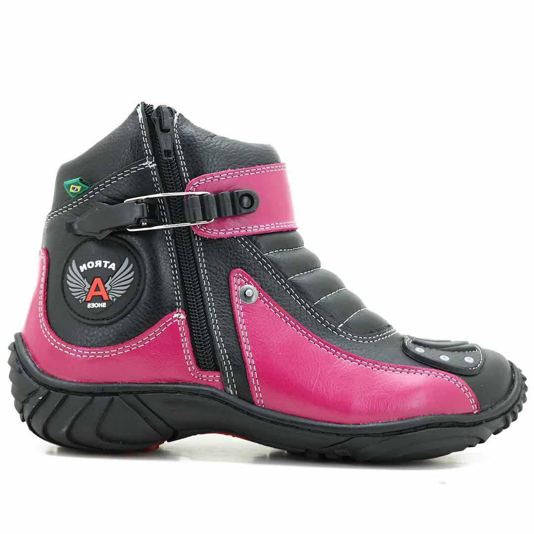 Bota Atron Shoes 271 Motociclista Cano Baixo - Preto Pink