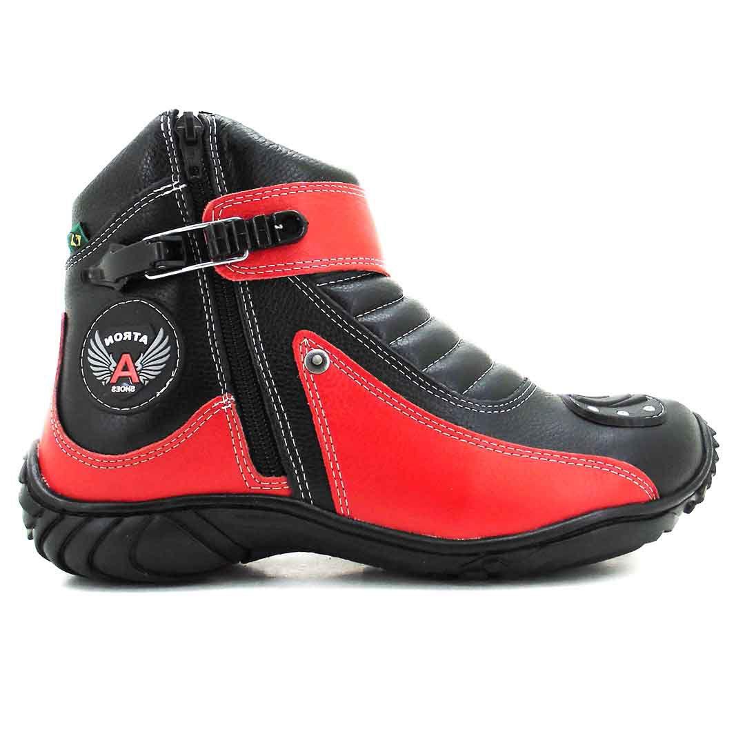 Bota Atron Shoes 271 Motociclista Cano Baixo - Preto Vermelho