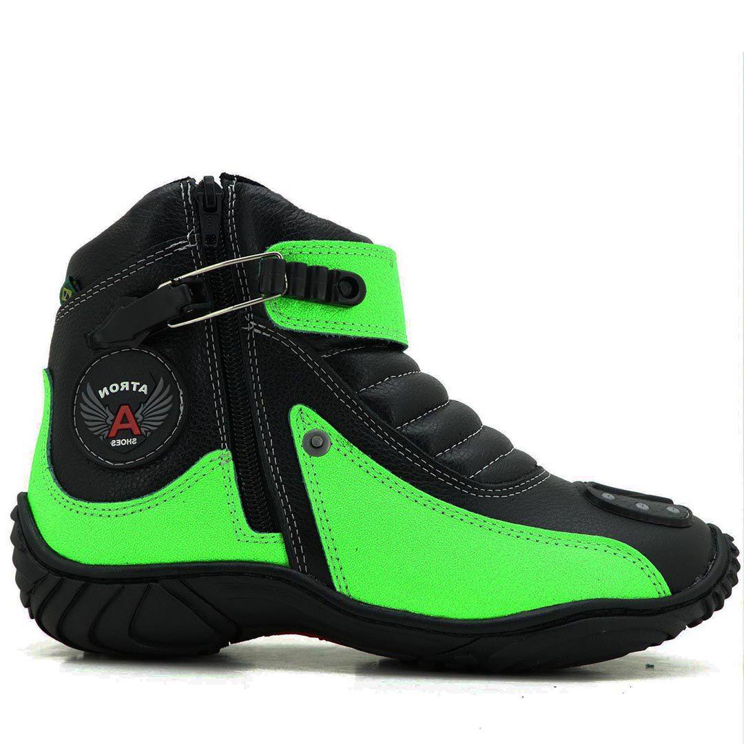 Bota Atron Shoes Motociclista 271 Cano Baixo  - Verde Preto