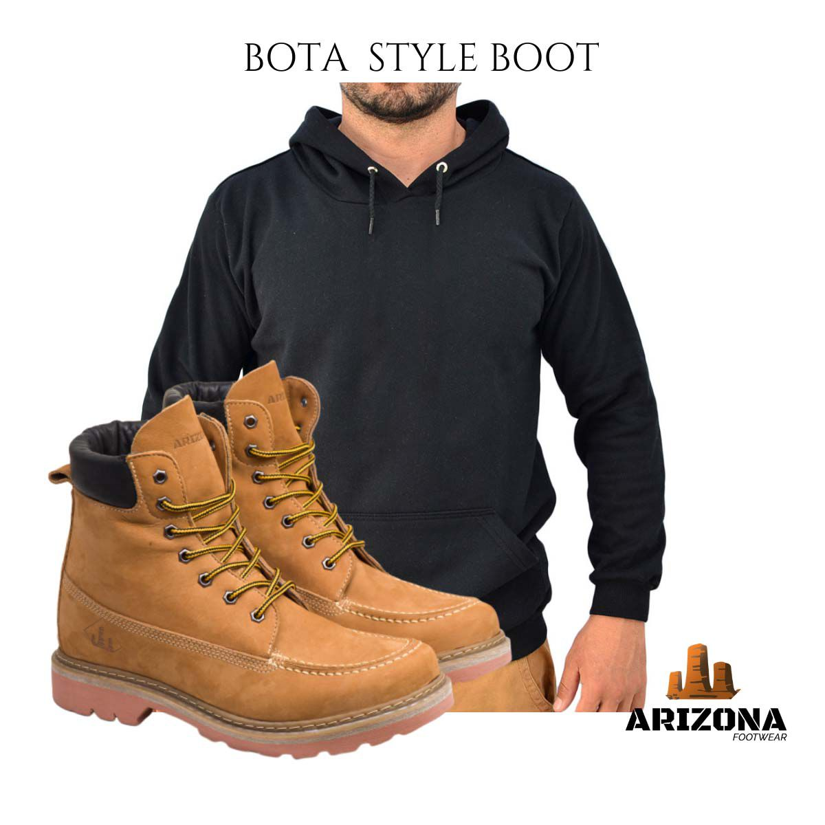 Bota Coturno Adventure Arizona Canyon Boot  Moleton Liso Preto