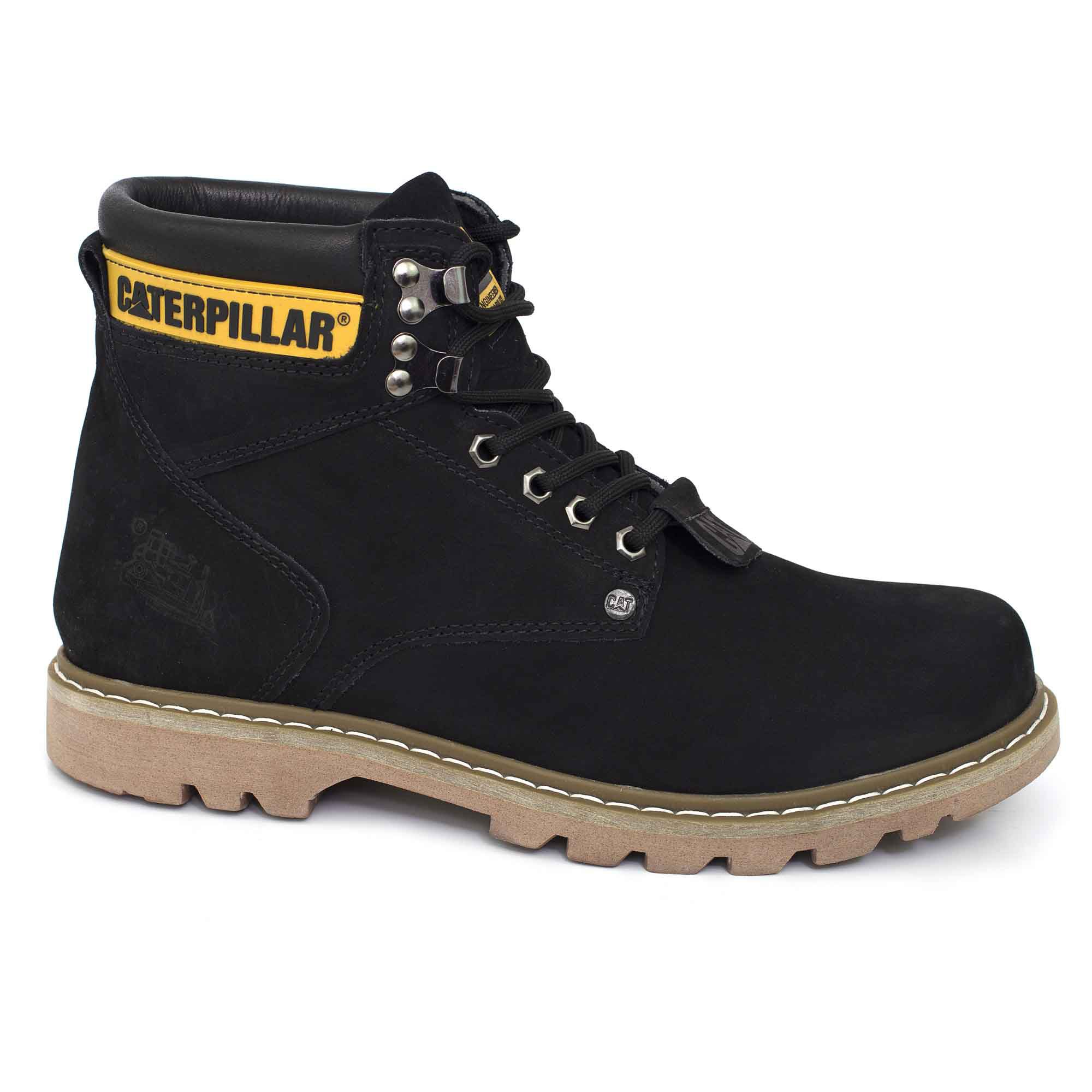 0c9a278a0047a Bota Coturno Caterpillar Second Shift Couro - Black - Madrid Outlet ...