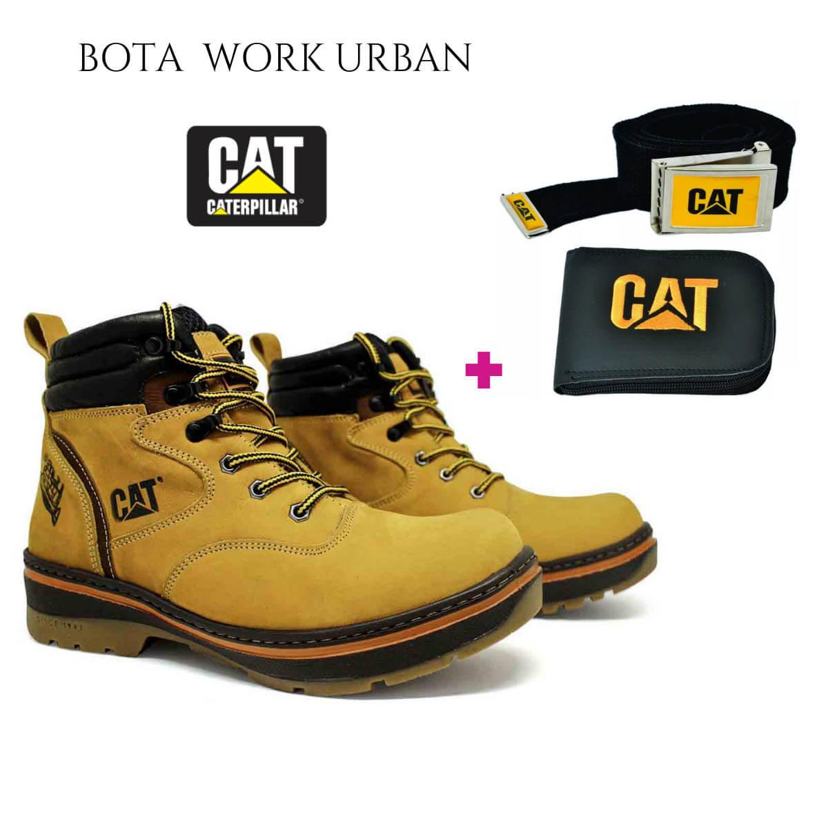 Kit Bota Coturno Work Urban 1000 Jeep Couro Yellow + Carteira e Cinto Cat