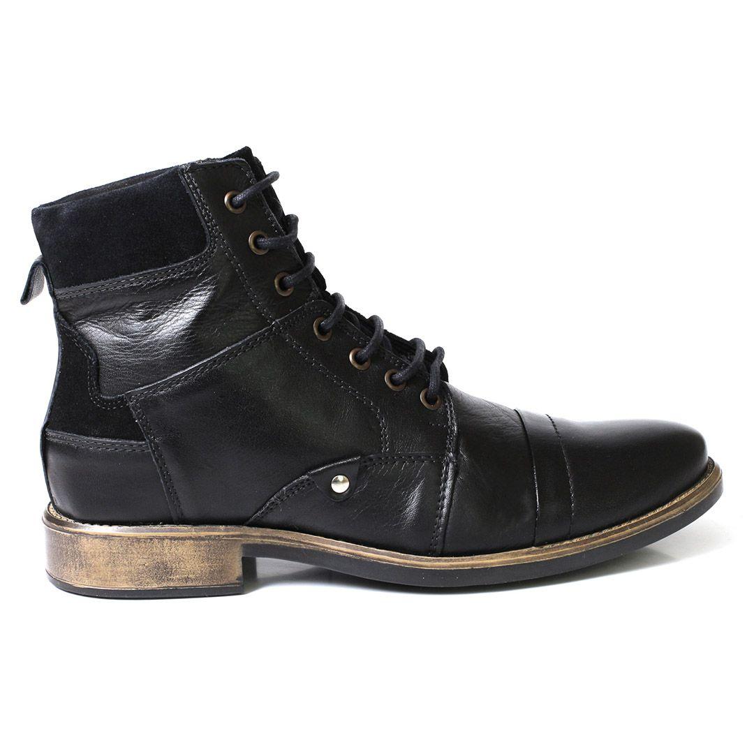 Bota Coturno Social Tchwm Shoes  Couro - Preto