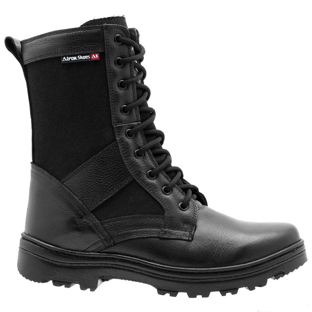 Bota Coturno Tático Militar Cano Alto Atron Shoes 285 - Preto