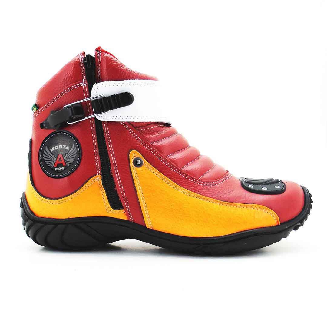 Bota Motociclista Atron Shoes 271 Cano Baixo  - Vermelho Laranja