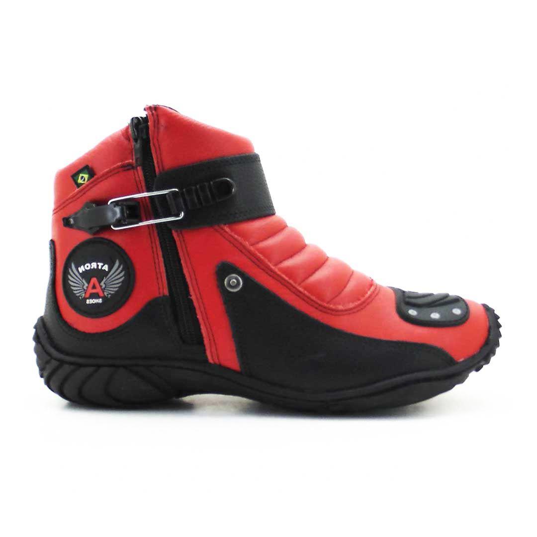 b59006ff06 Bota Motociclista Atron Shoes 271 Cano Baixo - Vermelho Preto