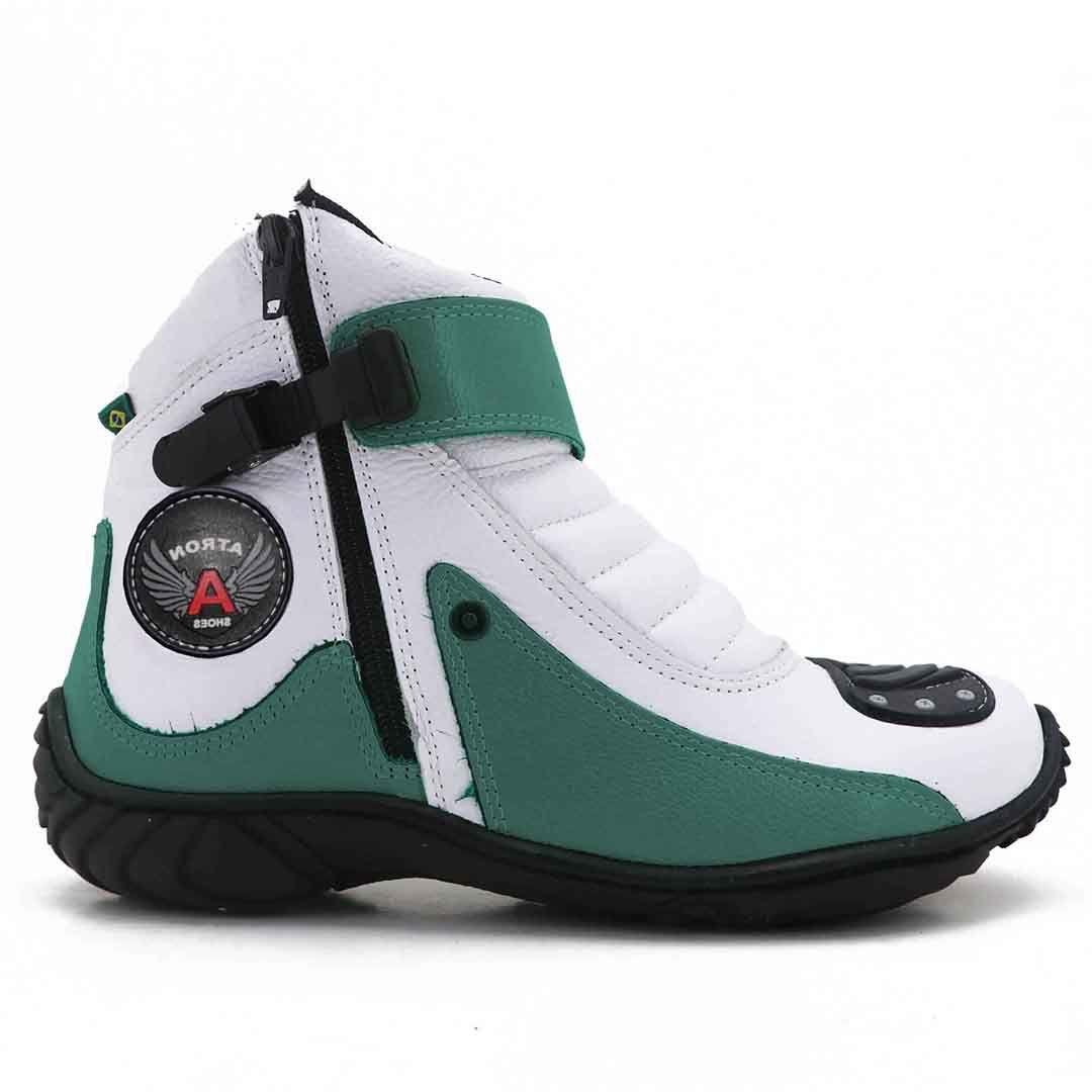 Bota Motociclista Atron Shoes 271 - Verde Branco