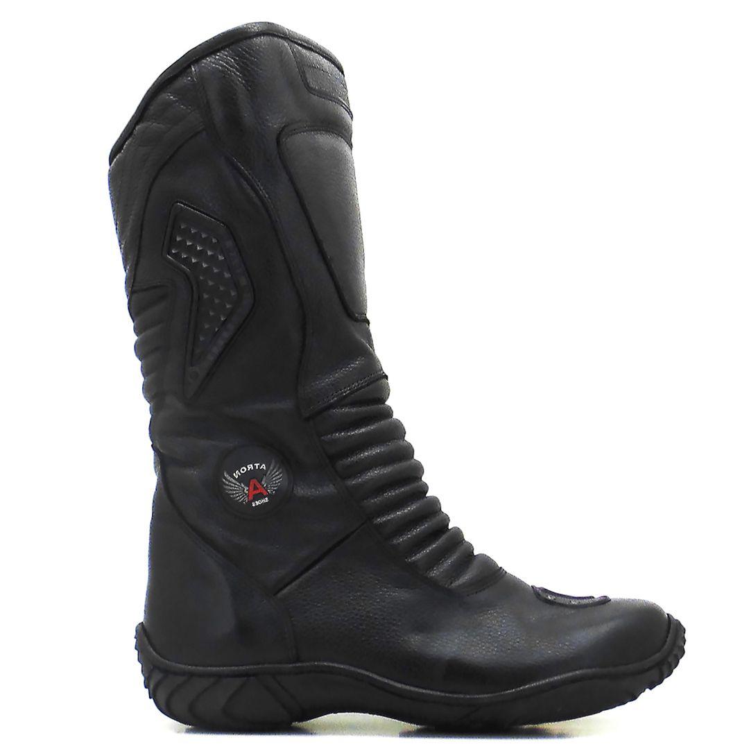 Bota Motociclista Atron Shoes 275 Cano Alto Couro - Preto