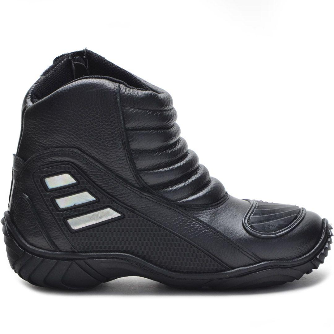 Bota Motociclista Atron Shoes 279 Couro - Preto
