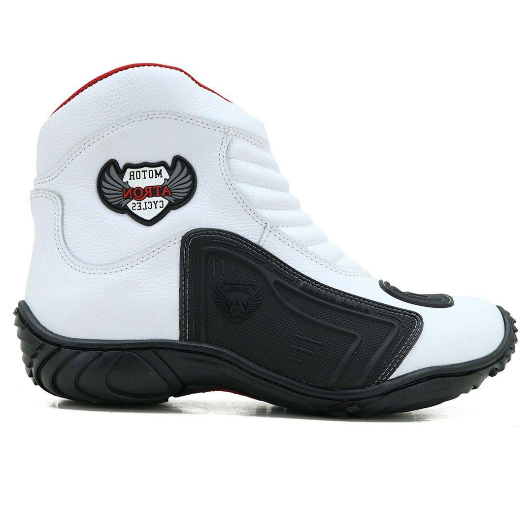 Bota Motociclista Atron Shoes 238 Couro - Branca