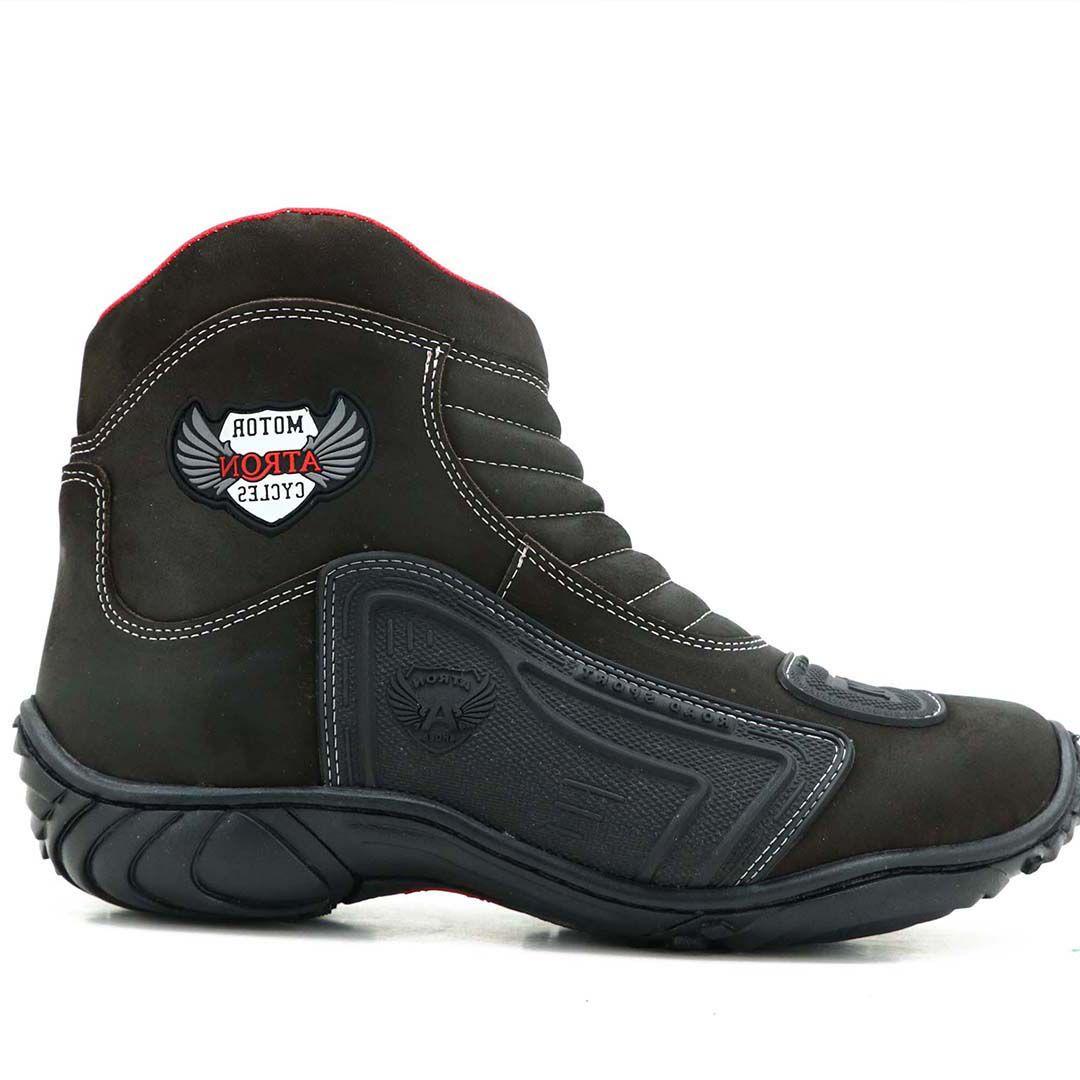 Bota Motociclista Atron Shoes 238 Couro - Café
