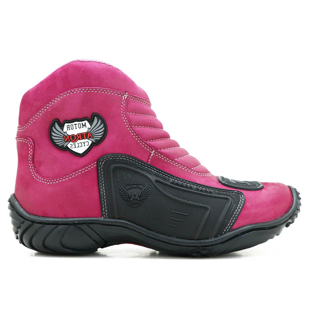 Bota Motociclista Atron Shoes 238 Couro - Pink