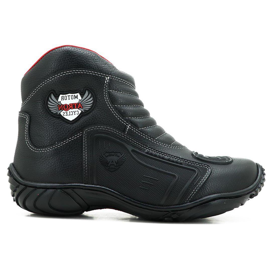 Bota Motociclista Atron Shoes 238 Couro - Preto