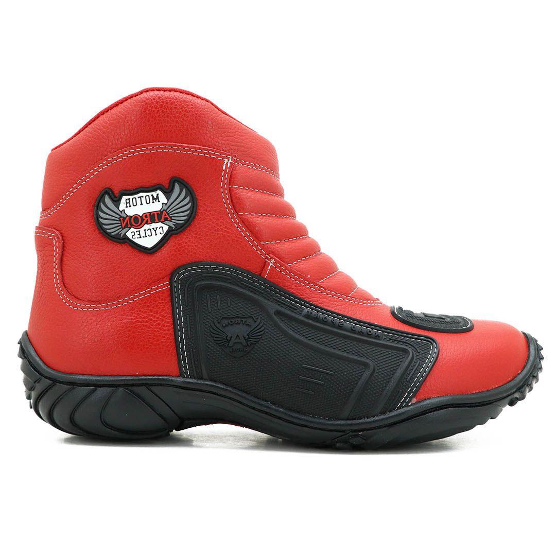 Bota Motociclista Atron Shoes 238 Couro - Vermelho
