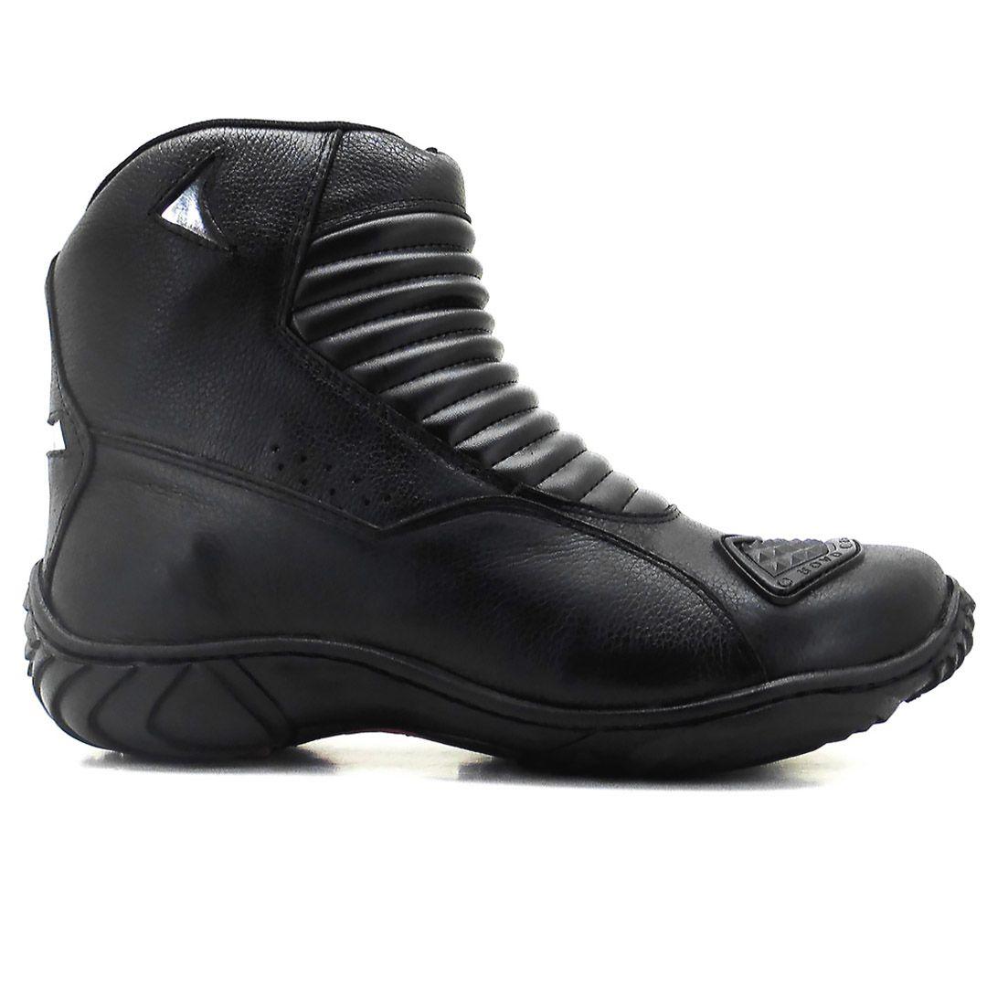 Bota Motociclista Atron Shoes 301 Couro - Preto