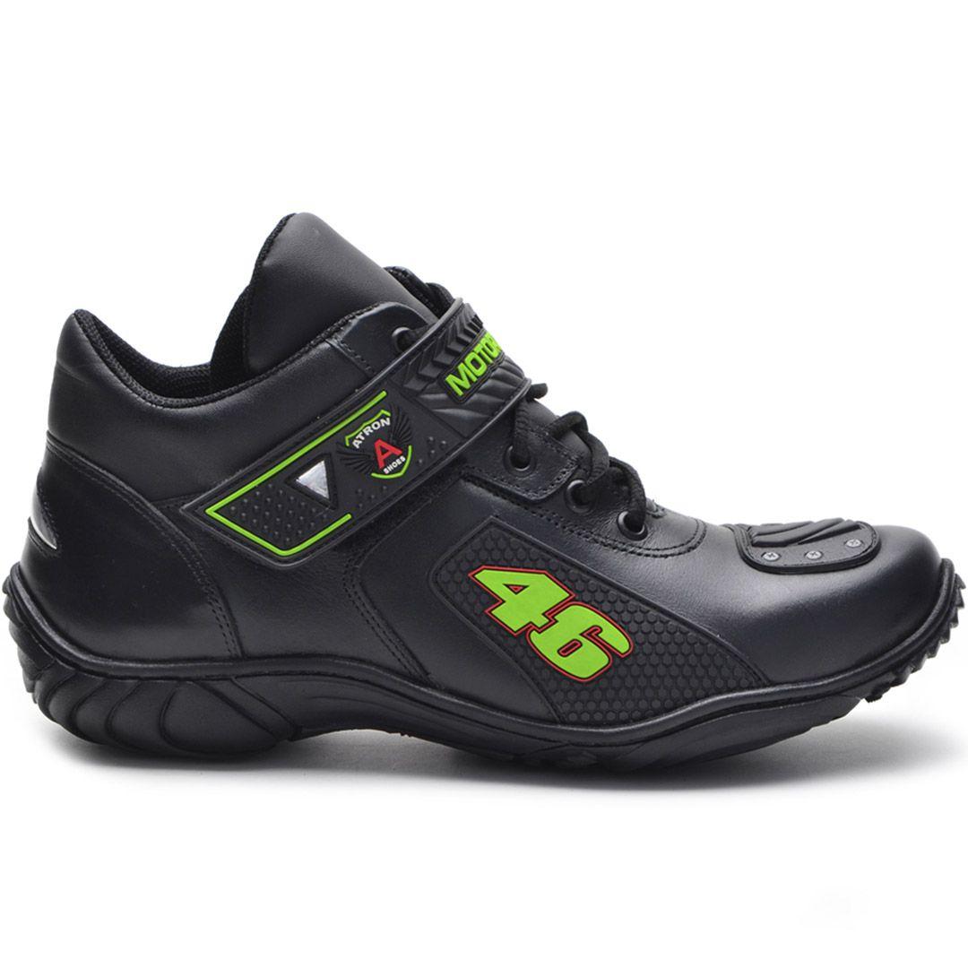 Bota Motociclista Atron Shoes 401 Cano Baixo  - Preto e Verde