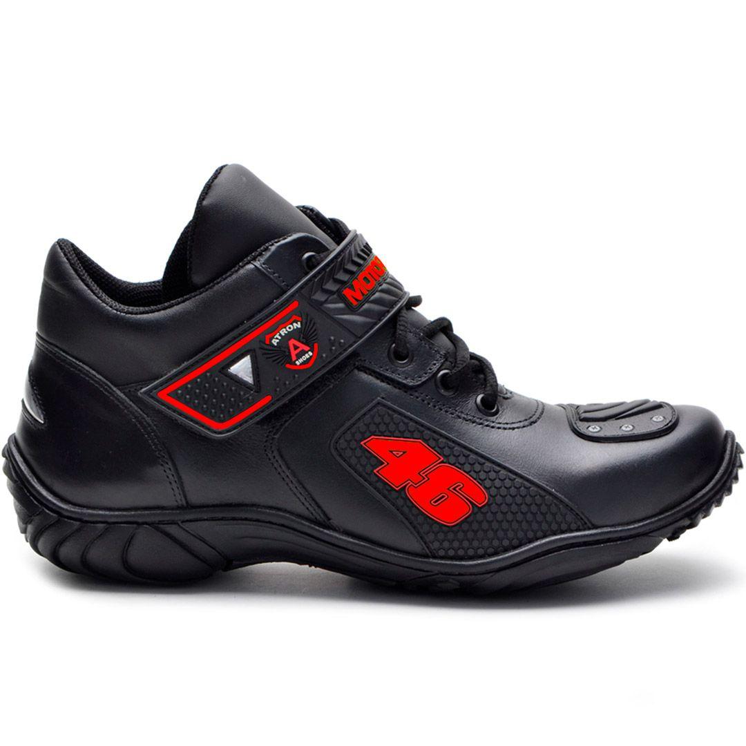 Bota Motociclista Atron Shoes 401 Cano Baixo  - Preto e Vermelho