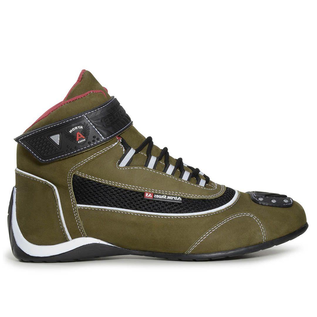 10345fe389 Bota Tênis Motociclista Refletivo Atron Shoes 310 Cano Alto Oliva