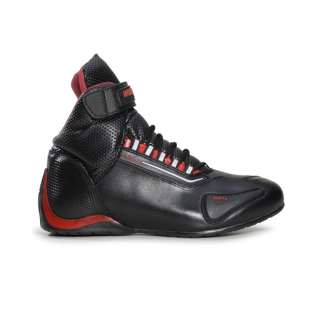 9d338fe9aa7 Bota Tênis Motociclista Refletivo Atron Shoes 311 Cano Alto Preto Verniz