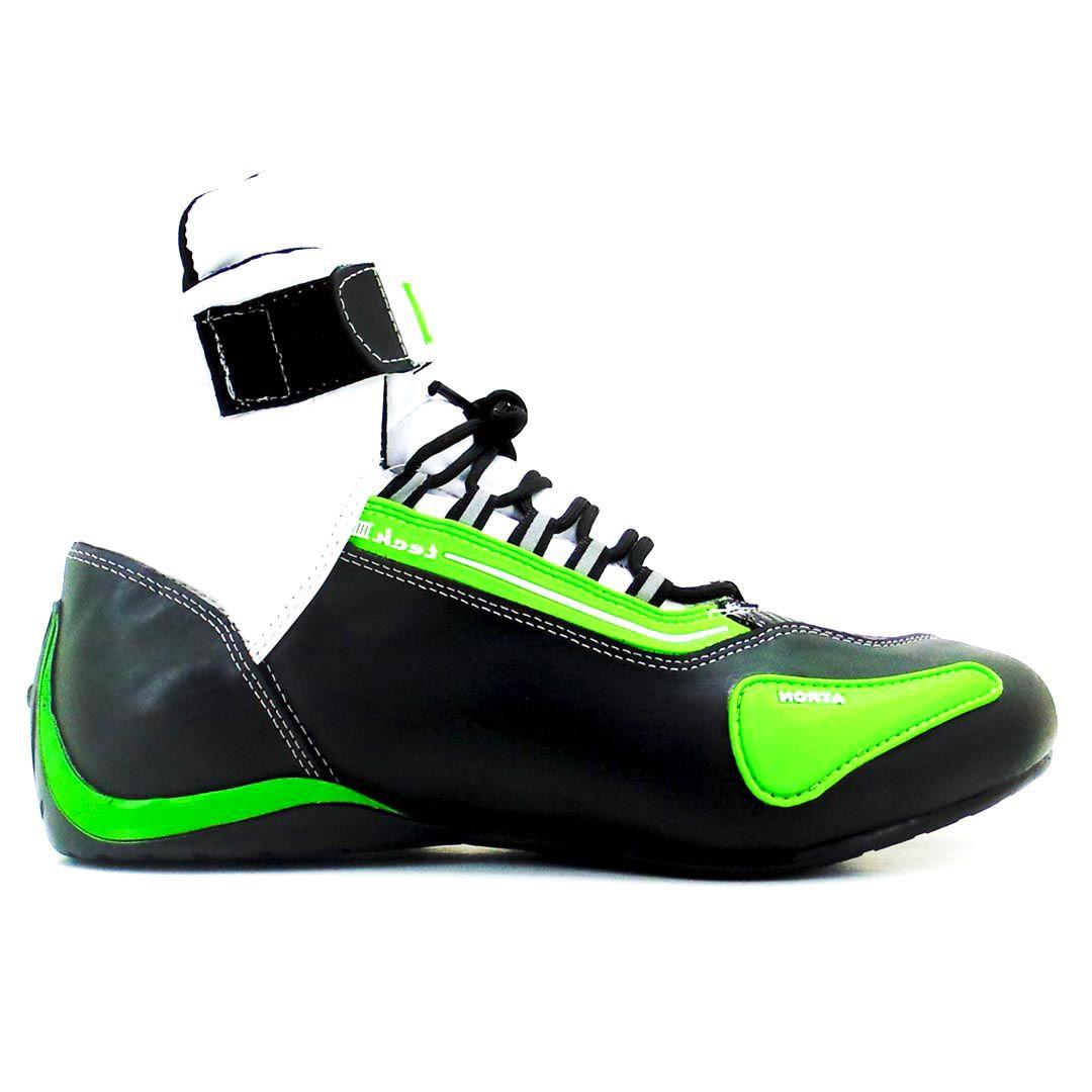 Bota Tênis Motociclista Refletivo Atron Shoes 311 Cano Alto Verde Verniz