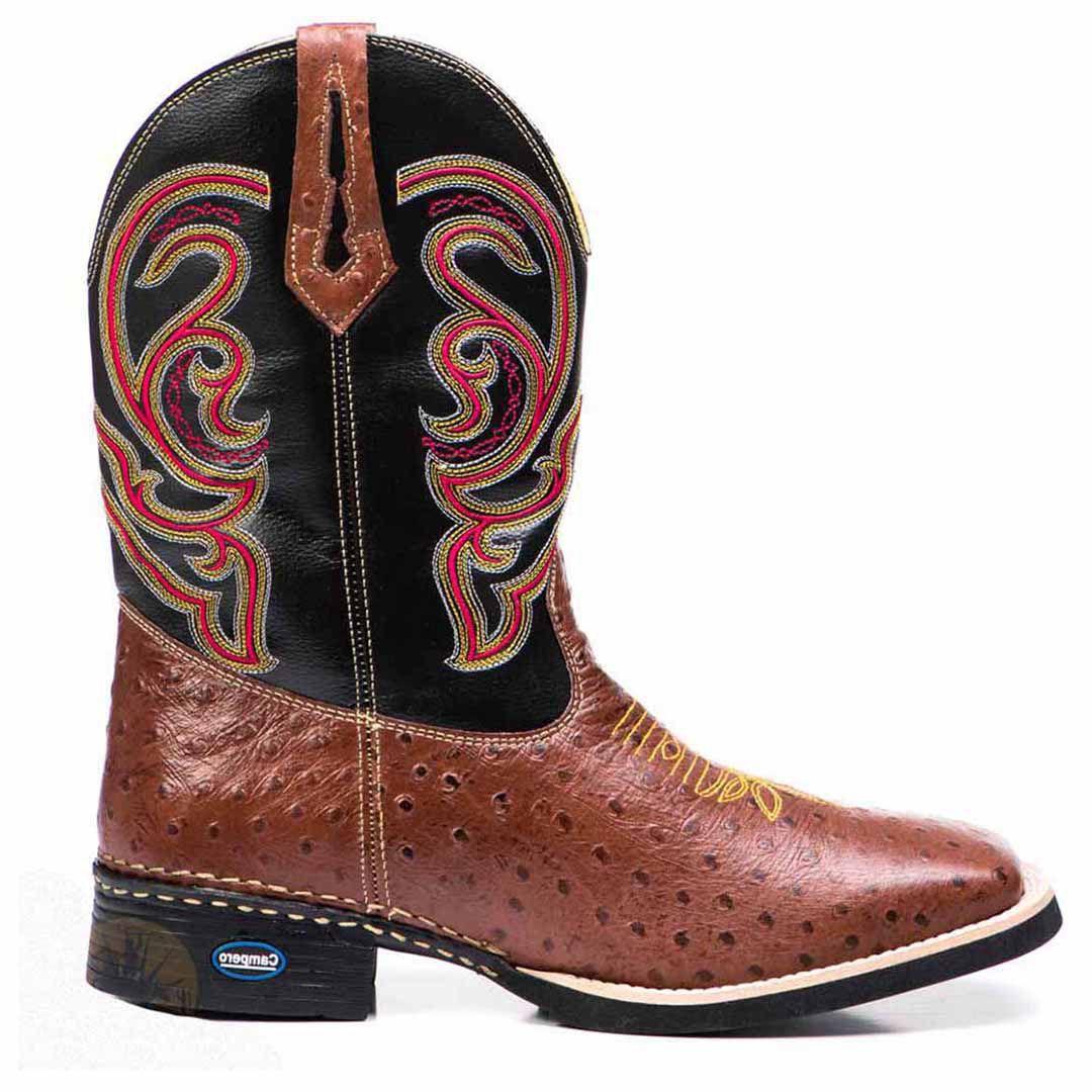 Bota Texana Alta Couro Avestruz Bico Quadrado - Rose