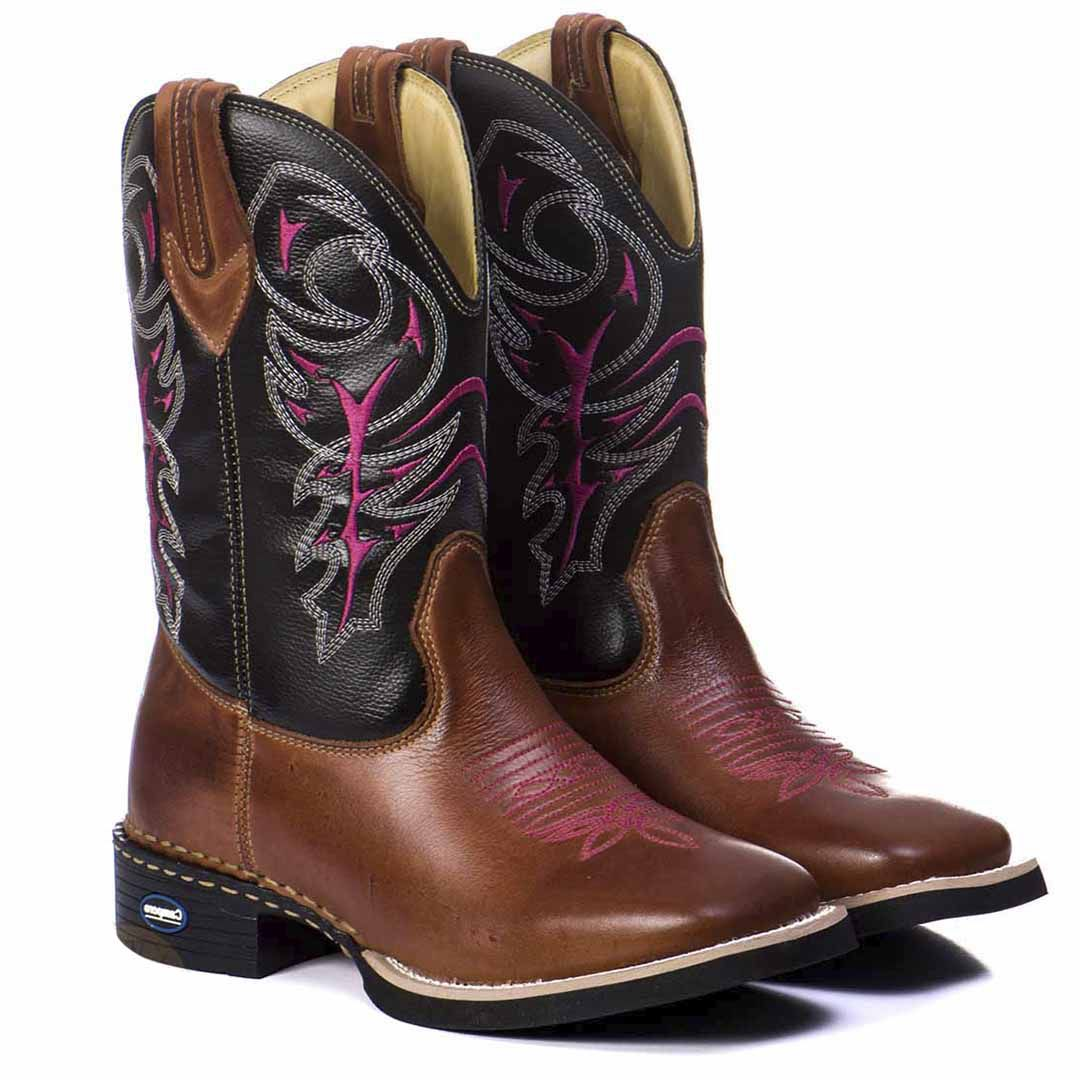 0373246e4e Bota Texana Country Feminina Couro Bico Quadrado - Rose