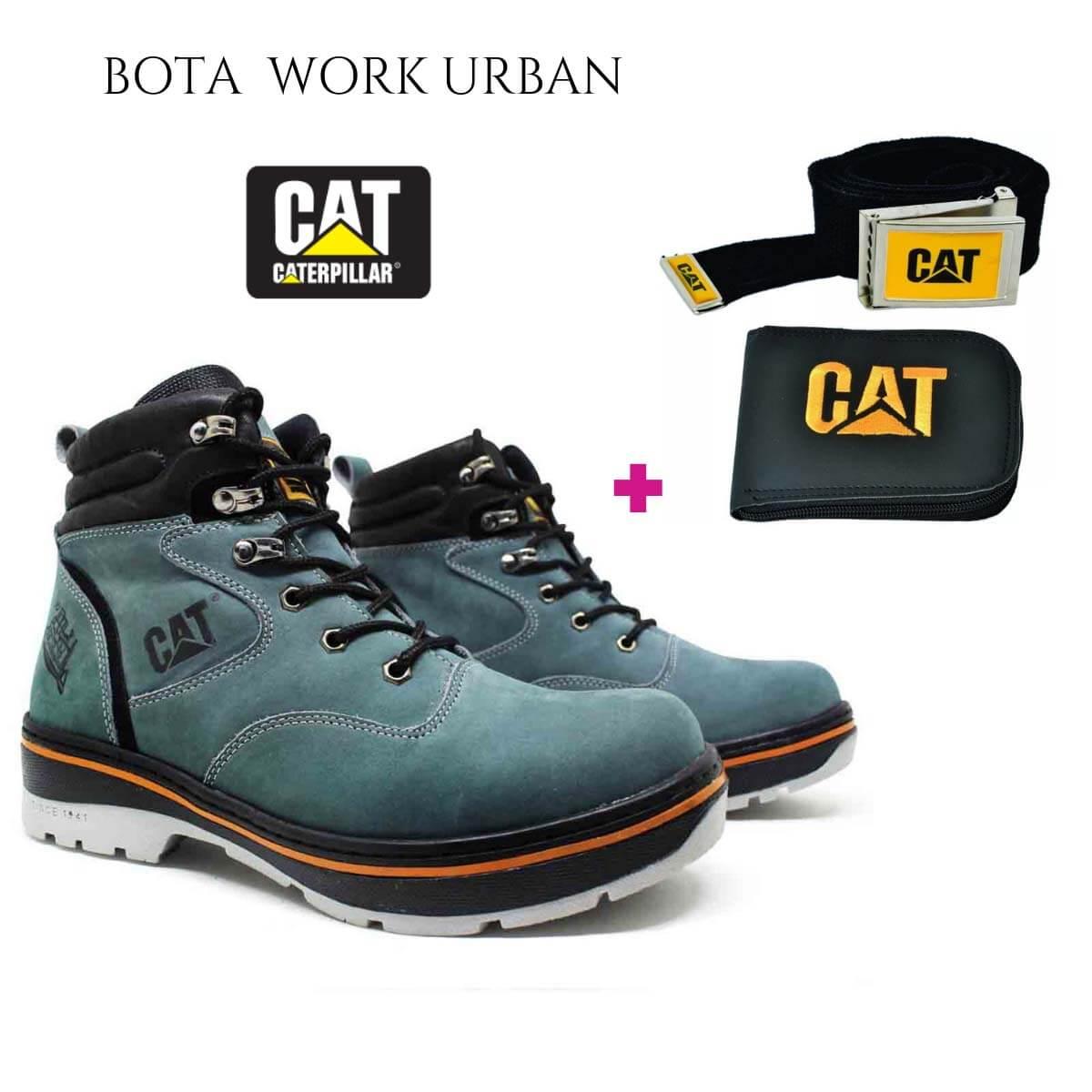 Bota Coturno Caterpillar Work Urban Couro Cinza + Brinde Carteira e Cinto Cat