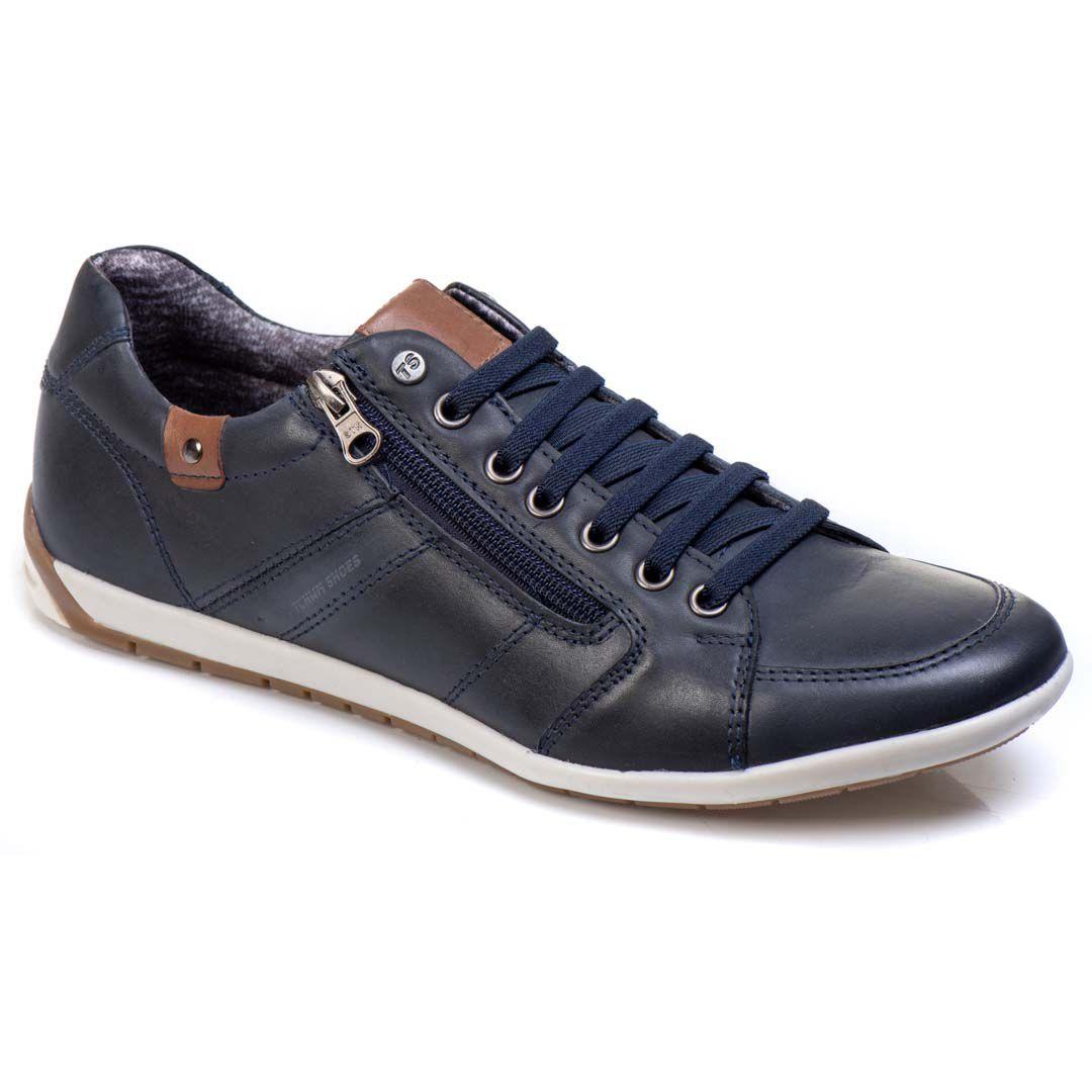 Sapatênis Tchwm Shoes Casual Masculino Couro com Zíper - Azul Marinho