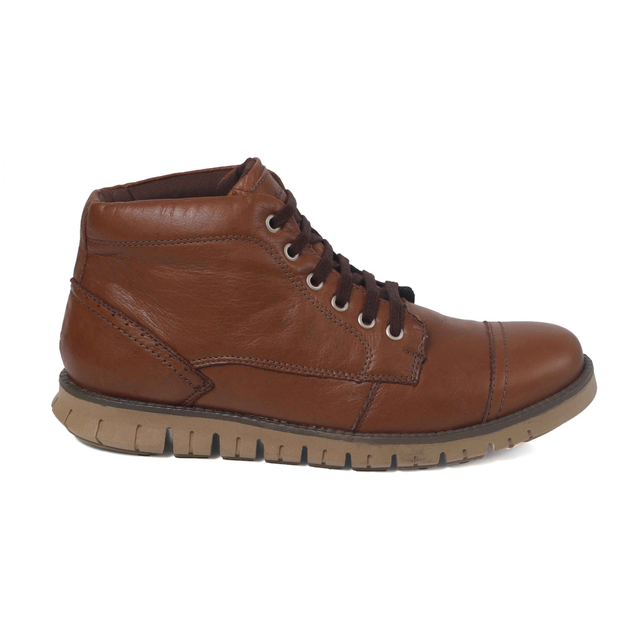 6b8866aabd4bb Coturno Sport Cano Baixo Masculino Tchwm Shoes Couro - Chocolate - Madrid  Outlet ...