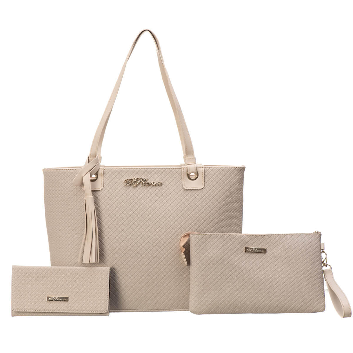 KIT Bolsa Grande + Carteira Feminina + Necessaire marca D'Flora
