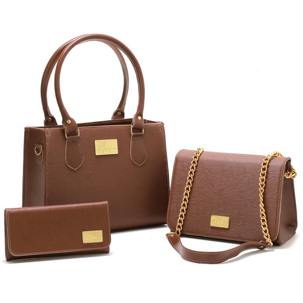 Kit Bolsa Elle Feminina Luxuosa 2 Bolsas 1 Carteira - Marrom