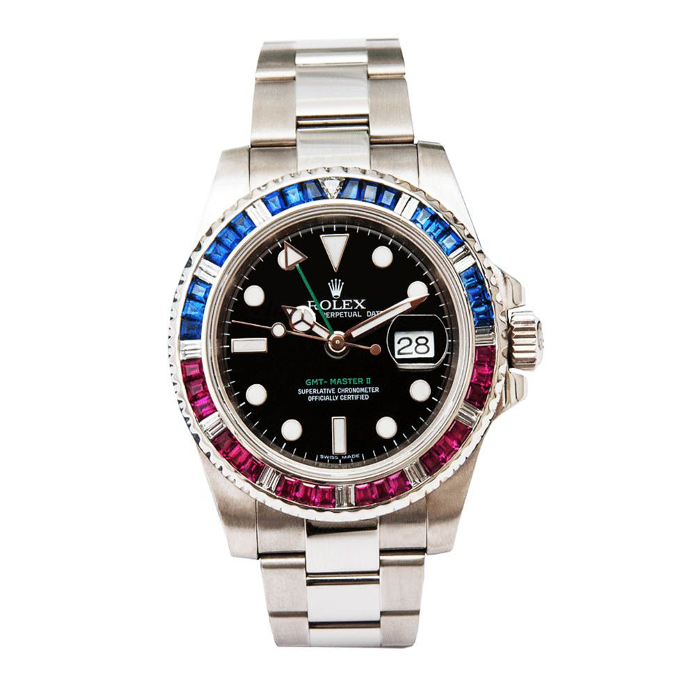Relógio GMT-Master II Pedras Luxo Importado Preto - Azul/Vermelho