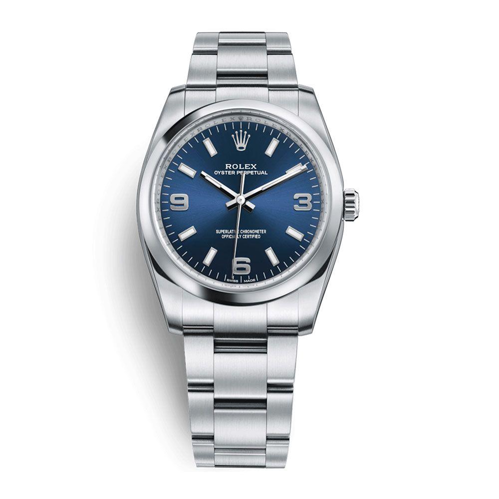 2bd0161b4c7 Relógio Oyster Perpetual 34 Luxo Importado Preto - Azul Cinza