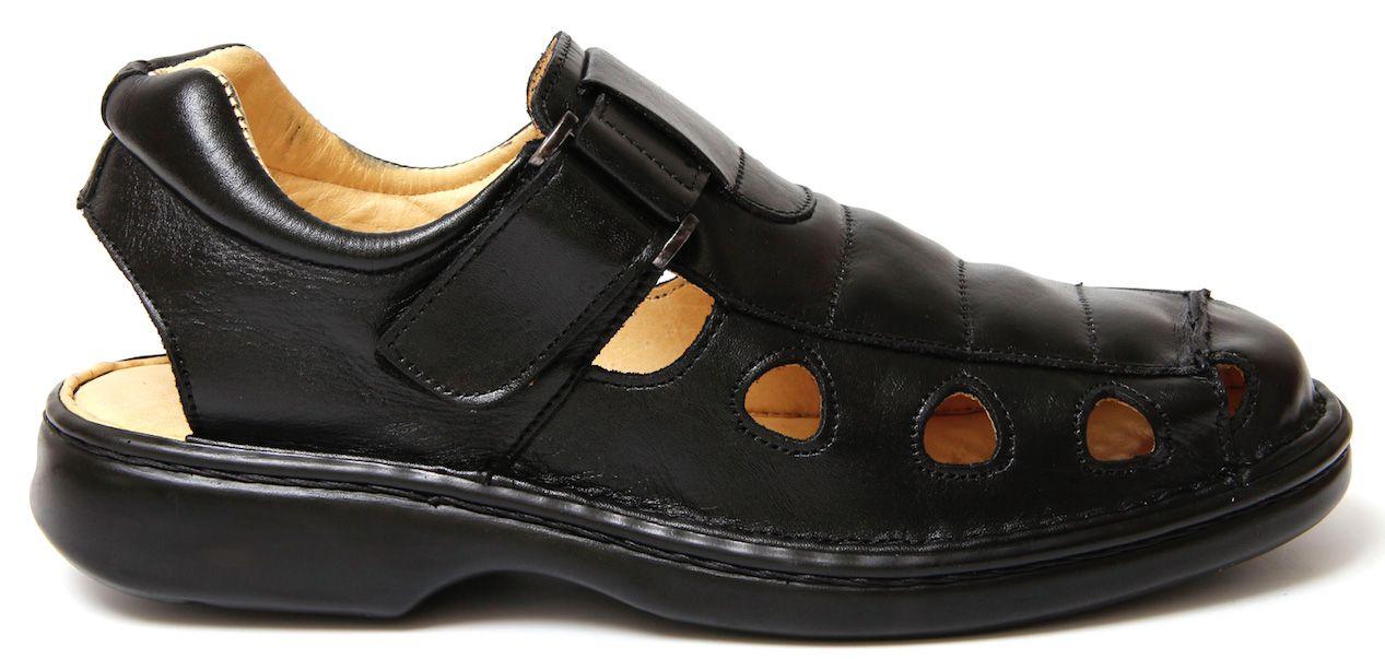 Sandália Anti Tensor Confort Tchwm Shoes Couro - Preto