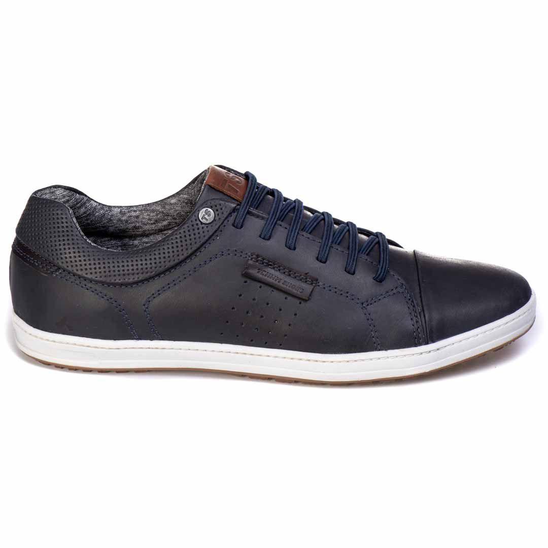 Sapatênis  Tchwm Shoes Casual Couro Cadarço Elástico - Azul Marinho