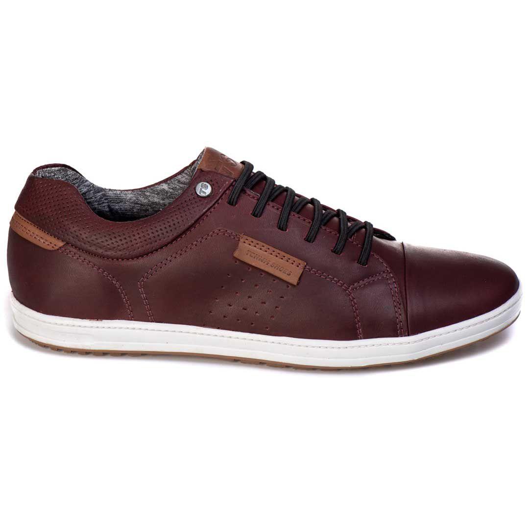 Sapatênis Tchwm Shoes  Casual Couro Cadarço Elástico - Bordô